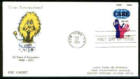 United States 1952 Lions International 25th Anniversary illustrated cover bearing Care stamp with first day cancel