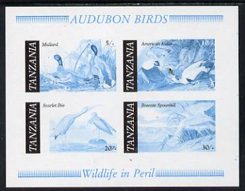Tanzania 1986 John Audubon Birds m/sheet imperf colour proof in blue & black only unmounted mint (SG MS 468)