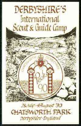 Great Britain 1990 Chatsworth Park illustrated postcard for Derbyshire's Int Scout & Guide Camp, unused and pristine