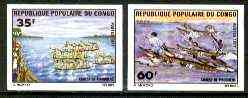Congo 1977 Pirogue Racing set of 2 imperf from limited printing unmounted mint, as SG 552-53*