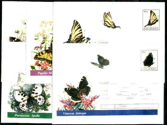 Rumania 1994 Butterflies set of 5 illustrated postal stationery envelopes (60L values) unused and pristine (limited edition)