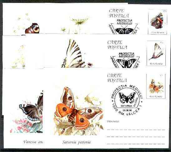 Rumania 1996 Butterflies set of 7 deluxe edition postal stationery cards (50L values) each with 'Butterfly' cancellation (Limited edition)