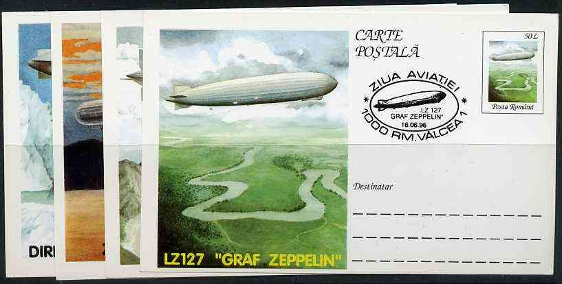 Rumania 1996 Airships (incl Zeppelins) complete set of 4 deluxe edition postal stationery cards (50L values) each with illustrated cancellation (Limited edition)