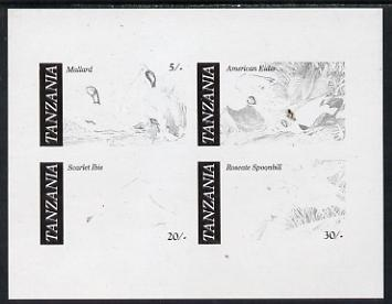 Tanzania 1986 John Audubon Birds m/sheet imperf colour proof in black only unmounted mint (SG MS 468)