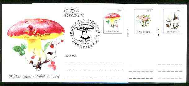 Rumania 1996 Fungi complete set of 3 deluxe edition postal stationery cards (50L values) each with illustrated 'mushroom' cancellation (Limited edition)