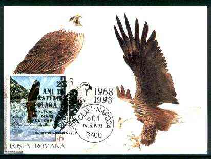 Rumania 1992 American Bald Eagle 6L (as SG 5478) on maximum card with special illustrated 'Eagle' cancellation