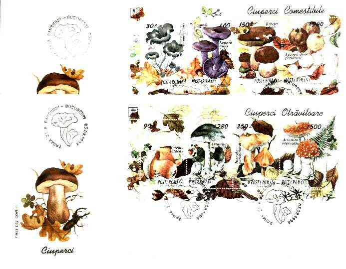Rumania 1994 Edible and Poisonous Fungi the set of 2 m/sheets, each on illustrated cover with special 'mushroom' first day cancel (as SG MS 5638)