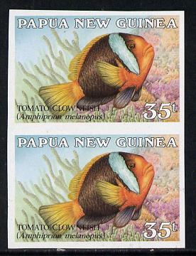Papua New Guinea 1987 Fish 35t (Tomato Clownfish) unmounted mint imperf pair (SG 541var)