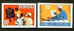 Senegal 1977 Literacy Week set of 2 imperf from limited printing , as SG 638-39*