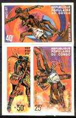 Congo 1977 Bondjo Wrestling set of 3 imperf from limited printing unmounted mint, as SG 564-668
