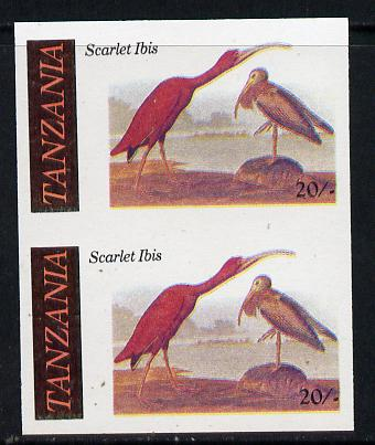 Tanzania 1986 John Audubon Birds 20s (Scarlet Ibis) in unmounted mint imperf pair (as SG 466)*