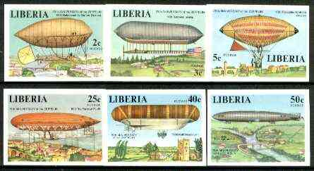 Liberia 1978 Zeppelin Anniversary set of 6 imperf from limited printing, unmounted mint SG 1334-39