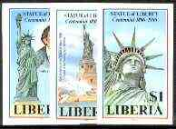 Liberia 1986 Statue of Liberty Centenary set of 3 imperf from limited printing, unmounted mint SG 1628-30