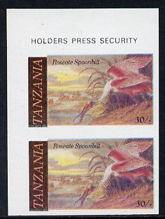 Tanzania 1986 John Audubon Birds 30s (Roseate Spoonbill) in unmounted mint imperf pair (as SG 467)*