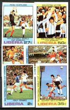 Liberia 1978 Football World Cup Winners set of 6 imperf from limited printing, unmounted mint SG 1356-61