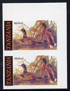 Tanzania 1986 John Audubon Birds 5s (Mallard) in unmounted mint imperf pair (as SG 464)*