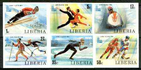 Liberia 1980 Lake Placid Winter Olympics set of 6 imperf from limited printing, unmounted mint SG 1449-54