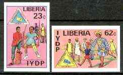Liberia 1982 International Year of the Disabled set of 2 imperf from limited printing, unmounted mint SG 1515-16