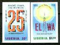 Liberia 1979 25th Anniversary of Radio ELWA set of 2 imperf from limited printing, unmounted mint SG 1369-70