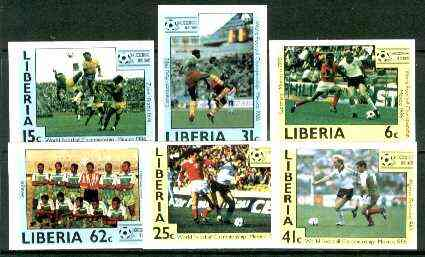 Liberia 1985 Football World Cup set of 6 imperf from limited printing, unmounted mint SG 1605-10
