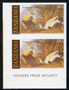 Tanzania 1986 John Audubon Birds 10s (American Eider) in unmounted mint imperf pair (as SG 465)*, stamps on audubon, stamps on birds, stamps on ducks