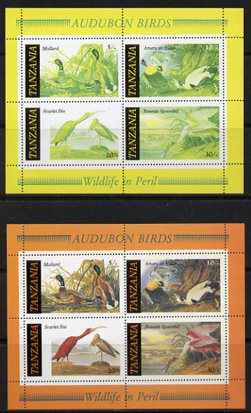 Tanzania 1986 John Audubon Birds m/sheet with red omitted plus normal both unmounted mint (SG MS 468)