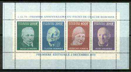 Gabon 1970 First Death Anniversary of Claude Dornier (Aviation Pioneer) perf m/sheet, Mi BL 16A