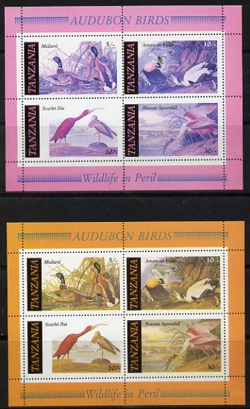 Tanzania 1986 John Audubon Birds m/sheet with yellow omitted plus normal both unmounted mint (SG MS 468)
