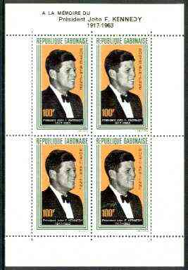 Gabon 1964 President Kennedy Commemoration unmounted mint m/sheet containing 4 x 100f, SG MS 226