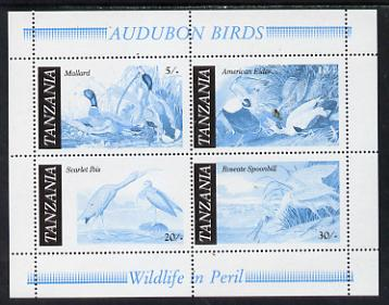 Tanzania 1986 John Audubon Birds m/sheet perf colour proof in blue & black only unmounted mint (SG MS 468)