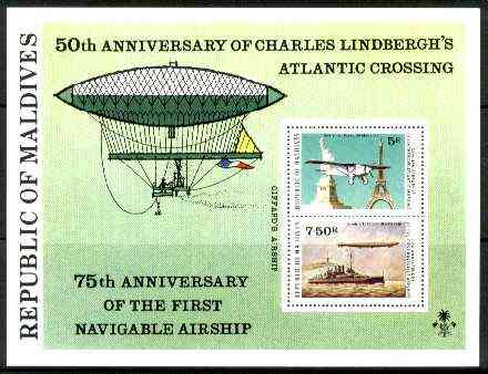 Maldive Islands 1977 Lindbergh & Airships Anniversary perf m/sheet unmounted mint, SG MS 720, stamps on aviation, stamps on airships, stamps on lindbergh, stamps on monuments, stamps on civil engineering, stamps on americana, stamps on statues, stamps on ships, stamps on masonics, stamps on masonry