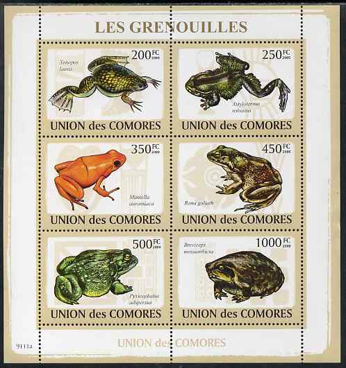 Comoro Islands 2009 Frogs perf sheetlet containing 6 values unmounted mint