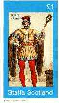 Staffa 1982 French Revolution Costumes #02 imperf souvenir sheet (�1 value, Sergent d Armes) unmounted mint