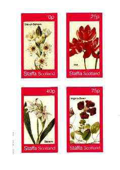 Staffa 1982 Flowers #33 (Star of Bethlehem, Ixia, Babiana & Virgin's Bower) imperf set of 4 values unmounted mint