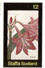Staffa 1982 Flowers #34 (Red Amaryllis) imperf deluxe sheet (�2 value) unmounted mint