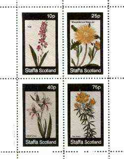 Staffa 1982 Flowers #37 (Ixia, Mesembryanthemum, Gladiolus & Genista) perf set of 4 values unmounted mint