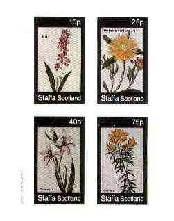 Staffa 1982 Flowers #37 (Ixia, Mesembryanthemum, Gladiolus & Genista) imperf set of 4 values unmounted mint , stamps on flowers