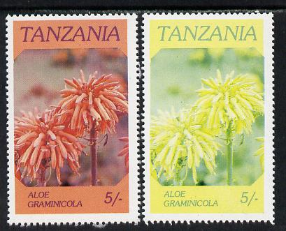 Tanzania 1986 Flowers 5s (Aloe) with red omitted, complete sheetlet of 8 plus normal sheet, both unmounted mint as SG 475
