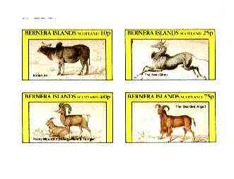 Bernera 1982 Domesticated Animals (Ox, Sheep, Ghau & Argali) imperf sheet containing set of 4 values unmounted mint, stamps on animals, stamps on ovine, stamps on bovine, stamps on sheep, stamps on argali, stamps on ox
