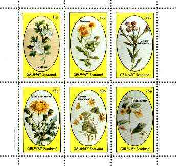 Grunay 1982 Flowers #15 (Hawthorn, Fleabane, Willow Herb, Thistle etc) perf set of 6 values unmounted mint