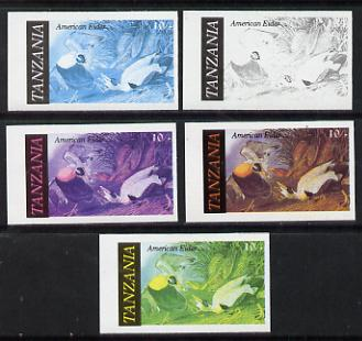 Tanzania 1986 John Audubon Birds 10s (American Eider) set of 5 unmounted mint imperf progressive colour proofs incl all 4 colours (as SG 465)