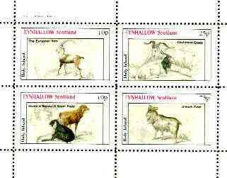 Eynhallow 1982 Sheep & Goats (Ibex, Cashmere Goats, etc) perf sheet containing set of 4 values unmounted mint