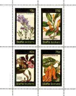 Staffa 1982 Flowers #40 (Pentstemon, Columnea, Cattleya & Brugmansia) perf set of 4 values unmounted mint