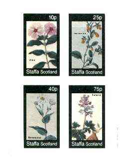 Staffa 1982 Flowers #46 (Vinca, Hermannia, Rananculus & Fumaria) imperf set of 4 values unmounted mint
