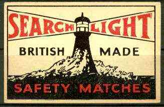 Match Box Labels - Searchlight Brand (Lighthouse black & red) dozen size label made in England