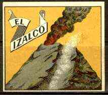 Match Box Labels - El Izalco (Volcano - yellow background) label in very fine unused condition (Swedish)