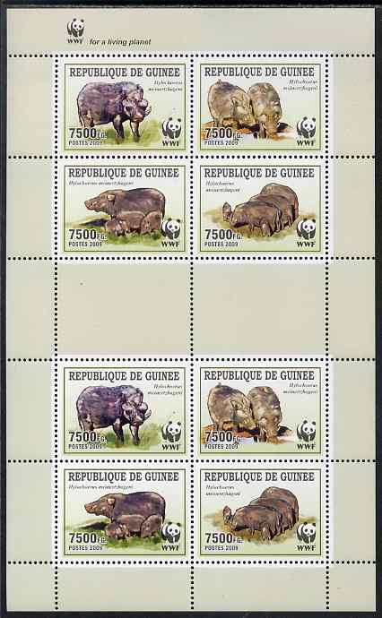 Guinea - Conakry 2009 WWF - Wild Boar perf sheetlet containing 2 sets of 4 in se-tenant blocks unmounted mint