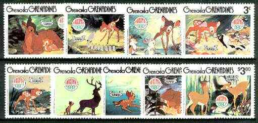 Grenada - Grenadines 1980 Christmas (Scenes from Disneys Bambi) set of 9 unmounted mint, SG 415-23