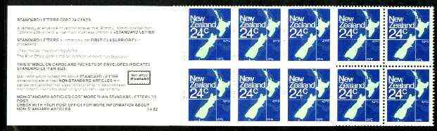 Booklet - New Zealand 1982 $2.40 booklet containing pane of 10 x 24c (Map) perf 12.5, SB 37
