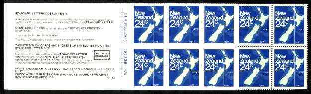 Booklet - New Zealand 1982 $2.40 booklet containing pane of 10 x 24c (Map) perf 14.5 x 14, SB 37a